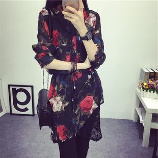 2016春装新款菱格中裙假两件花色系带长袖雪纺连衣裙