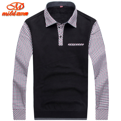 Men's long-sleeved shirt collar mild warm knit sweater plus thick velvet fake two-piece sweater coat splicing