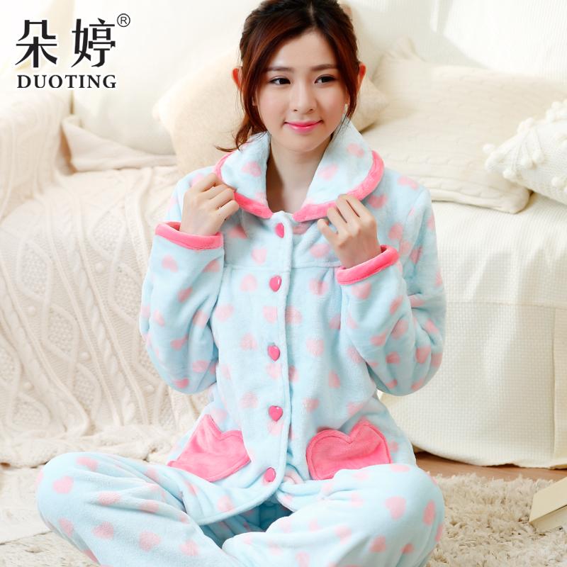 冬季珊瑚绒睡衣女士长袖秋季加厚法兰绒睡衣女可爱心形家居服套装
