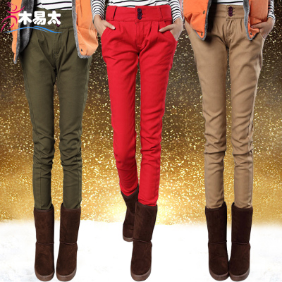 Autumn wood too easy breasted Korean version of thick winter Harlan jeans big yards plus velvet harem pants female pencil pants