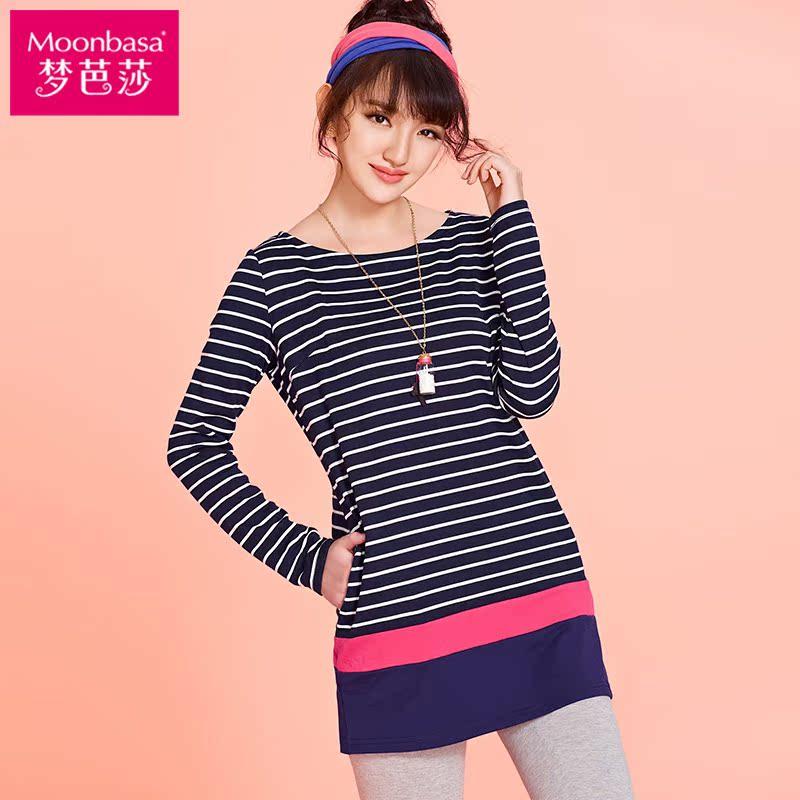 梦芭莎 秋季新款撞色条纹衫加厚长款针织T恤433013301
