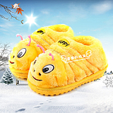 Special autumn and winter Korean version of the cartoon caterpillar children warm shoes men and women home cotton slippers bag with baby