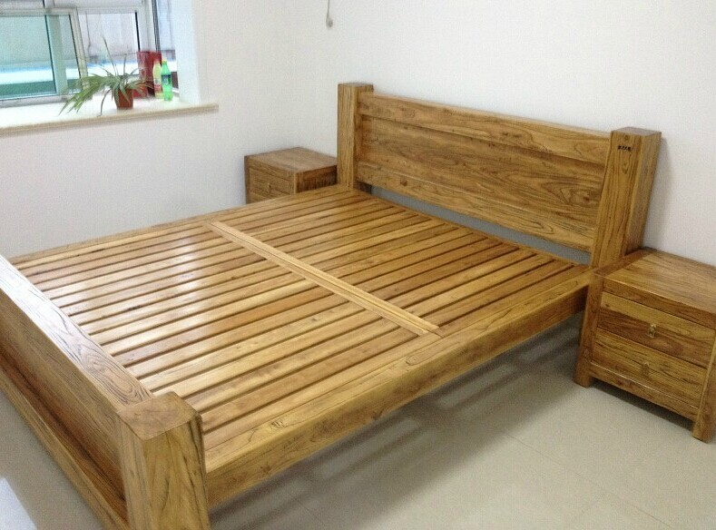 Кровать из массива дерева Ruitang old Elm furniture  1.81.5