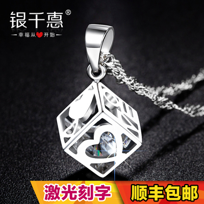 Chieko sterling silver necklace South Korean female models clavicle chain silver jewelry accessories cube pendant birthday gift