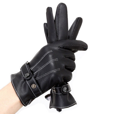 Every day special winter thick velvet male fashion style soft leather gloves men's leather gloves Korean version of