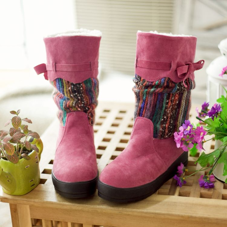 Ethnic knitting wool fur boots snow boots cotton boots boots Girls in the increased heavy-bottomed flat boots women