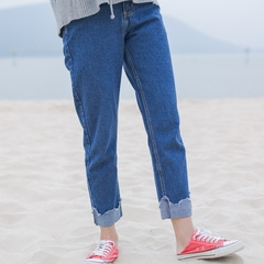 回忆森林 春秋季日系复古裤子直筒长裤女 学生个性卷边牛仔裤
