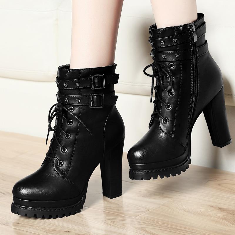 粗跟马丁靴女鞋子短靴2016秋冬季新款加绒韩版百搭高跟鞋女靴子