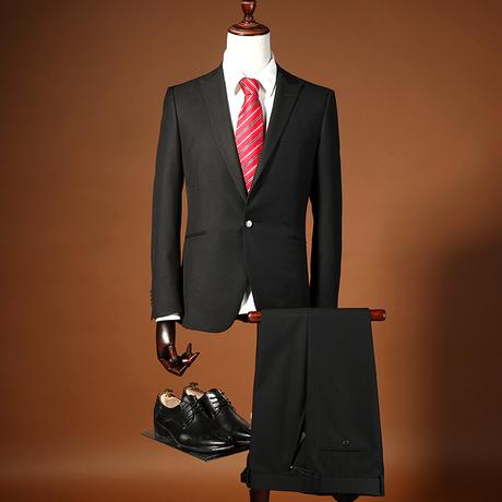 雅戈尔正品15年秋季新款男士商务正装黑色单扣西服套装 26261ACY商品大图