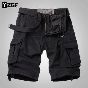夏季男士宽松直筒工装短裤多口袋黑色中裤户外五分裤短裤大码