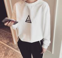 2015新款韩国东大门同款复古学院风百搭小三角图案打底长袖T恤女