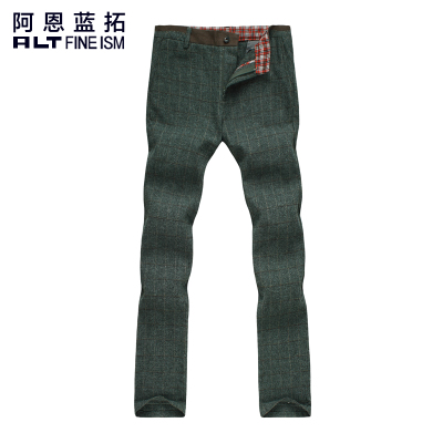 Arne Blue Extension brushed plaid slacks male Korean autumn and winter youth ALT cultivating cotton trousers straight jeans tide