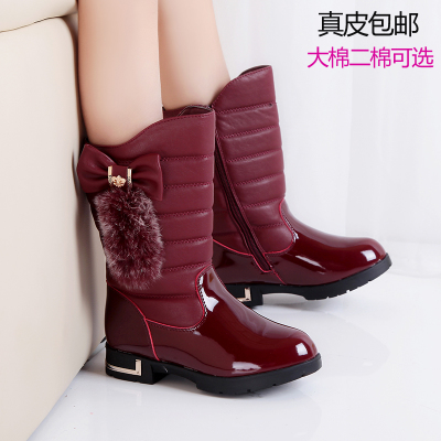 Free shipping 2014 new girls boots girls boots children's shoes genuine leather tube padded Dongkuan ants