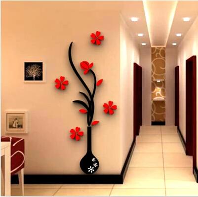 花瓶梅3d水晶亚克力立体墙贴客厅沙发电视背景玄关墙家居饰品墙贴