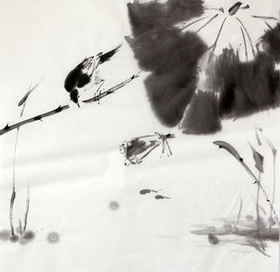 弈墨国画 写意花鸟 现代水墨 礼品 手绘 原稿 禅意小品 编号7129图片