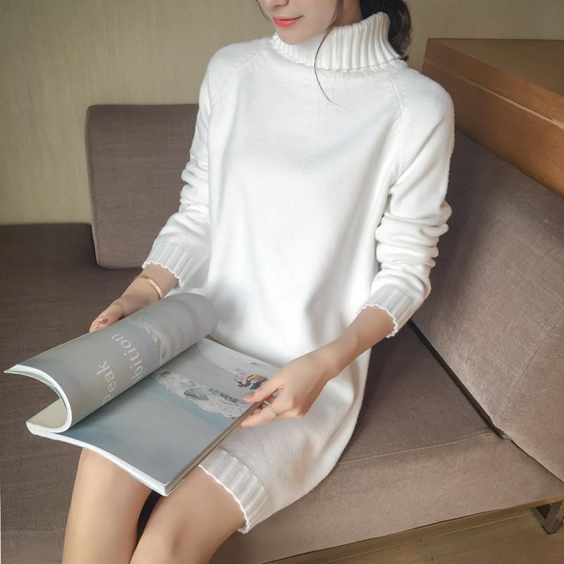 2016秋冬新女装韩版中长款宽松大码加厚高领纯色针织衫打底毛衣女