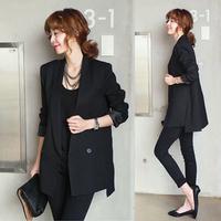 韩购2015秋冬季修身长袖中长款小西装外套韩版大码小西服三件套装
