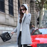2015冬装新款女装毛呢外套稻时尚百杜服装显瘦A版毛球连帽大衣潮