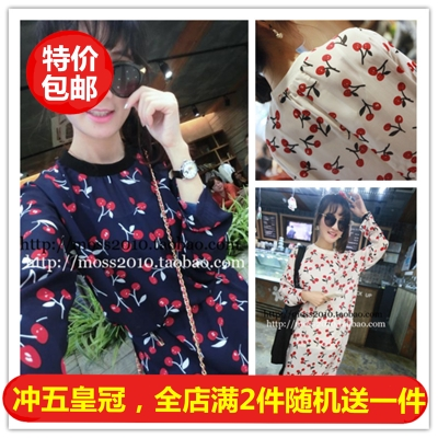 The new spring/summer 2015 Cute little cherry logo printing perspective long-sleeved render women chiffon dress