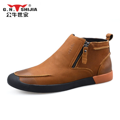 Bulls family leather casual boots men boots men boots 2014 winter boots tide men 2A95165W16