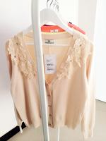 2015新款秋冬装时尚韩版甜美针织衫立体花朵镶钻长袖修身开衫