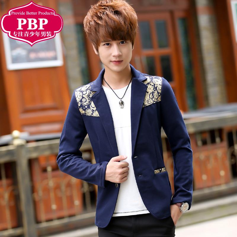 秋季青少年小西装男韩版学生修身上衣休闲薄款小西服外套潮流男装