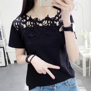 夏季韩版个性短袖镂空花边女装t恤百搭宽松上衣打底衫蕾丝T恤潮
