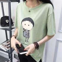 2017春夏装女丅恤 韩版女装宽松大码中长款圆领短袖T恤女 全棉