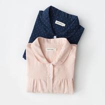 春夏纯棉纱布波点月子服产后哺乳衣产妇喂奶长袖睡衣孕妇家居服