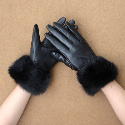 Ms. sheepskin gloves female winter Miss Han Baonuan lovely ladies rabbit fur sheep skin leather gloves