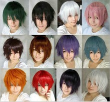 Cosplay anime wig color universal anti skip cos in short red orange silver powder brown cos male