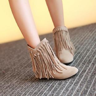 短靴女平底跟靴子磨砂流苏及裸靴春秋冬季单靴学院风女大码鞋
