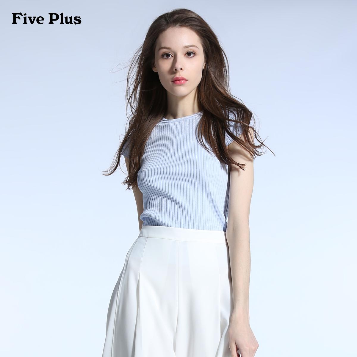 Five Plus2017新品女夏装棉质纯色修身短袖套头针织衫2JM2030510