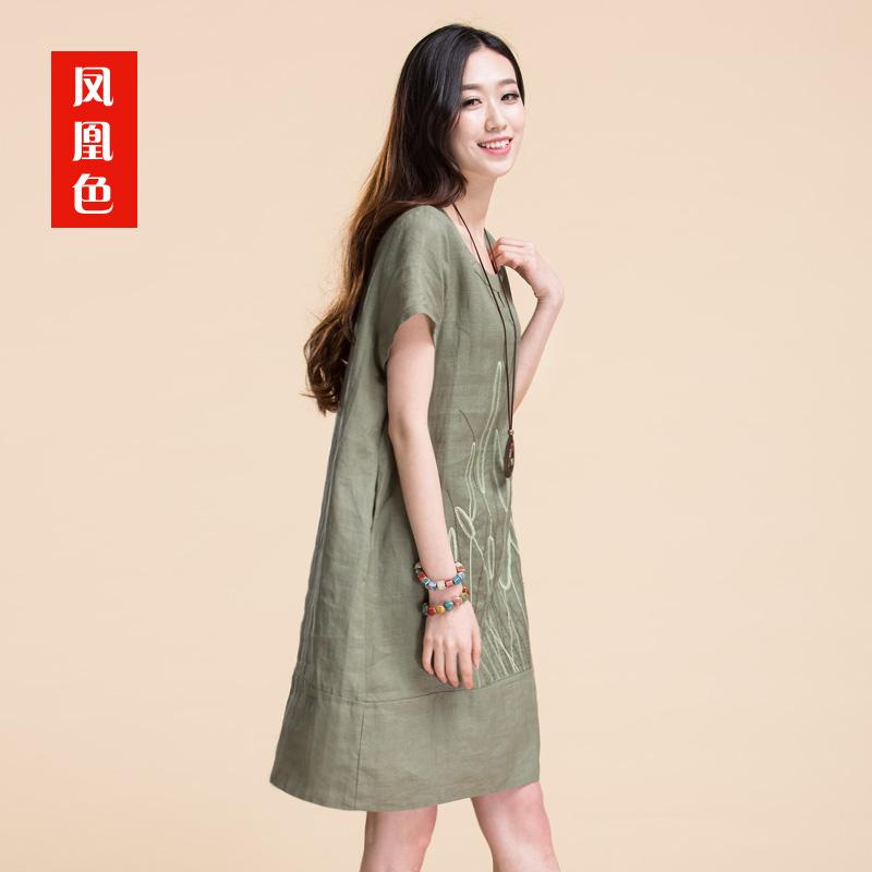 棉麻女装2016夏天新款民族风苎麻料直筒连衣裙短袖中长款裙子宽松
