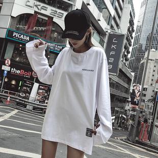白色加绒打底衫女长袖秋冬2018内搭加厚t恤女中长款宽松体恤