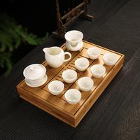 整套白瓷茶具加带竹制茶盘功工夫茶具茶盘储盛装水大中小号优惠价