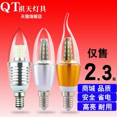 祺天 led灯泡 e14小螺口蜡烛灯7W5W3瓦节能灯尖泡水晶光源E27头