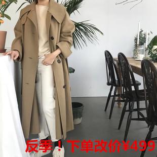 反季秋冬双面手缝羊毛羊绒大衣女显瘦时尚百搭潮