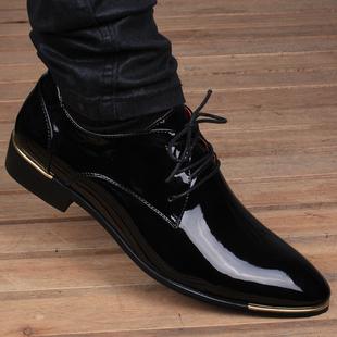 秋季男士英伦尖头透气皮鞋真皮商务内增高6cm亮面男鞋子
