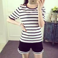 短袖休闲运动套装女2016夏装新款欧美大牌冰丝针织短裤两件套潮