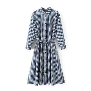 欧美2017秋季时尚拼接格子长衫连肩袖宽松长袖系带连衣裙女