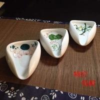 迷你青花赏茶荷白瓷赏茶盘竹根手绘荷花器茶具陶瓷碟手工观赏茶叶