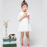 女童连衣裙2017夏季韩版童装新款裙子纯棉白色蕾丝七分袖公主裙