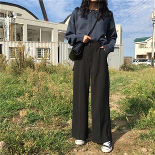 春装韩国复古百搭纯色高腰西装裤女宽松显瘦直筒裤女学生长裤