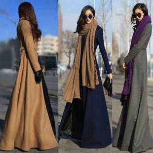 2018女装秋冬季到脚踝过膝中长超长款呢子羊毛呢外套风衣大衣