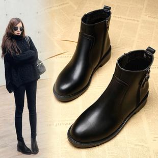 靴子女短靴秋冬季马丁靴40百搭41平底43大码女靴加绒女鞋