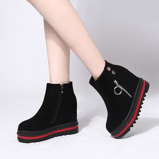 靴子女短靴马丁靴2018厚底内增高坡跟松糕短筒百搭冬季鞋子