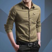 秋季中年男士长袖衬衫爸爸装纯棉宽松父亲全棉户外军装衬衣薄款寸