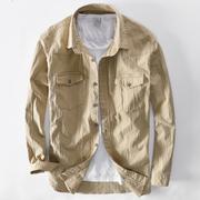 工装衬衫男长袖百搭宽松青年纯棉外穿工装衬衣外套男秋上衣服