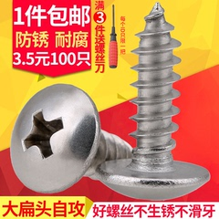 304不锈钢大扁头自攻螺丝钉M3M4M5M6十字蘑菇头自攻螺丝钉木螺钉